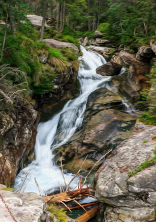 steep: Long exposure photo of a fast mountain stream with stones and green vegetation on both banks, stylized and filtered to look like an oil painting