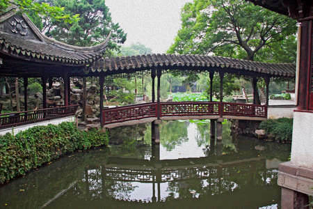 Photo of the Humble Administrator Garden in Suzhou near Shanghai with an a bridge and passageway above pond, China, stylized and filtered to resemble an oil painting