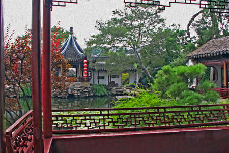 moon gate: Photo of the Master of Net garden in Suzhou near Shanghai, China, stylized and filtered to resemble an oil painting