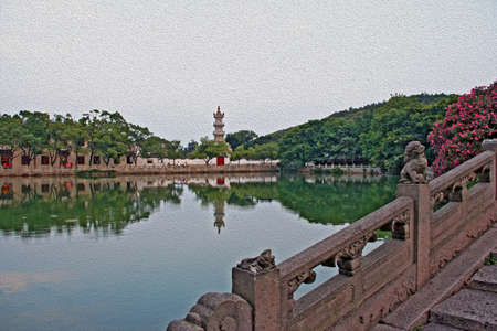crouching: generic  chinese architecture - a bridge, pond and pagoda in background, stylized and filtered to look like an oil painting  Stock Photo