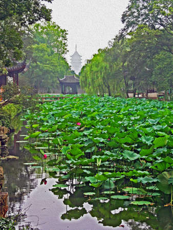 humble: Photo of the Humble Administrator Garden in Suzhou near Shanghai with pond full of water lilies and the silhouette of ruigang pagoda in background, China, stylized and filtered to resemble an oil painting  Stock Photo