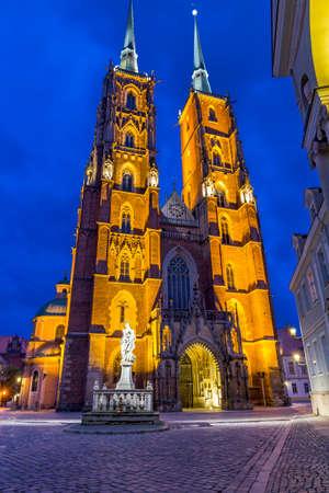 johannes: Night photo of beautifully illuminated St  John s cathedral, Wroclaw, Poland, Ostrow tumski  Stock Photo
