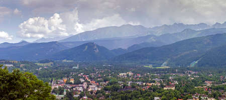 zakopane: Panorama of Zakopane city, Poland with tatra mountains on a sunny day viewed from gubalowka