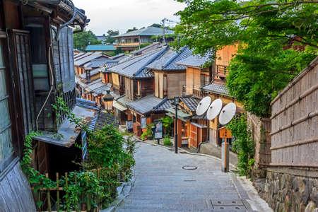 Kyoto, Japan - June 22, 2010: Beautiful old houses in Sannen-zaka street, Southern Higashiyama area on June 22, 2010. Sanene-zaka is one of the most beautiful streets in Kyoto. Redakční