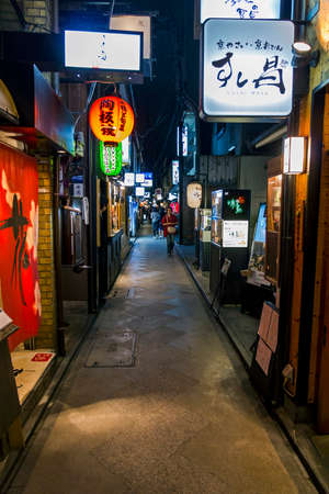 Kyoto, Japan - June 22, 2010: Ponto-cho alley at night on June 22, 2010. Narrow Ponto-cho alley is one of the most characteristic streets in Kyoto, with restored traditional architecture. Redakční