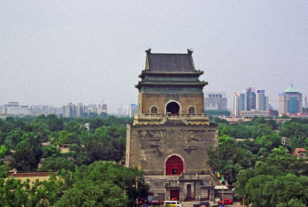 photo of ancient Bell Tower with modern Beijing in background, China, stylized and filtered to look like an oil painting photo