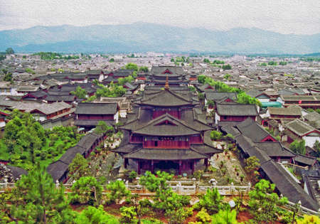 forbidden city: aerial view of ancient mu palace in lijiang, china, stylized and filtered to look like an oil painting
