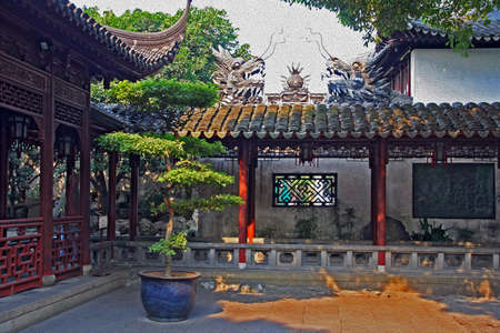 moon gate: Photo of  Yuyuan garden in Shanghai with  pavilions and bonsai, stylized and filtered to resemble an oil painting. Stock Photo