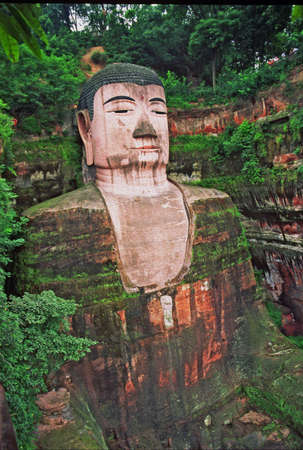 sichuan province: Great Buddha of Leshan, sichuan province, china, stylized and filtered to resemble an oil painting.