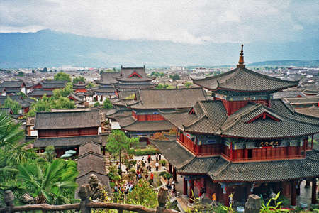 aerial view of ancient mu palace in lijiang, china, stylized and filtered to look like an oil painting