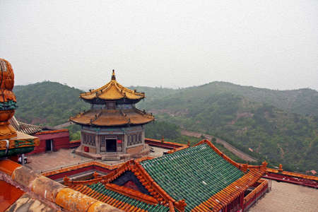 Roofs  of Putuo Zongcheng monastery in Chengde, China, stylized and filtered to look like an oil painting. photo