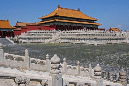 forbidden city: Forbidden City palace in Beijing;  stylized and filtered to resemble an oil painting Stock Photo