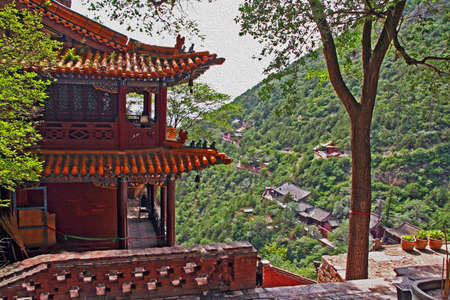 pavilion: Pavilion in a hengshan taoist monastery in Shanxi Province near Datong, China, stylized and filtered to resemble an oil painting.