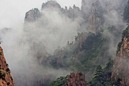 anhui: Photo of spectacular rocks and peaks of  Huang Shan Mountains, China in the mist, stylized and filtered to look like an oil painting Stock Photo