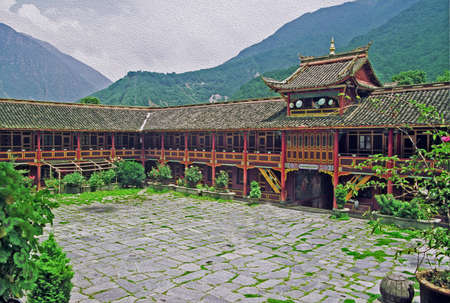 photo of a beautiful Tibetan buddhist monastery in Kanding China, stylized and filtered to look like an oil painting