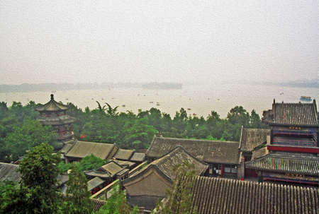 forbidden city: aerial view of longevity hill in summer palace, Beijing, China, stylized and filtered to look like an oil painting