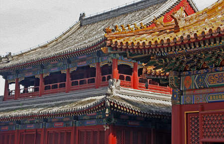 bass relief: Beautifully decorated roofs of Lama temple in Beijing, China, stylized and filtered to look like an oil painting.