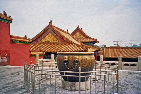 forbidden city: Coutyard with big bronze vase in foreground in Forbidden City palace in Beijing;  stylized and filtered to resemble an oil painting Stock Photo