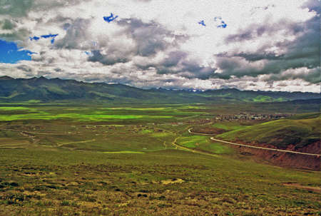 photo of large tibetan grassland with Litang town, mountains and cloudy sky in background, china,  stylized and filtered to look like an oil painting photo