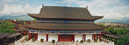 forbidden city: panoramic photo of one of the main buildings of palace in lijiang, china,  stylized and filtered to look like an oil painting Stock Photo