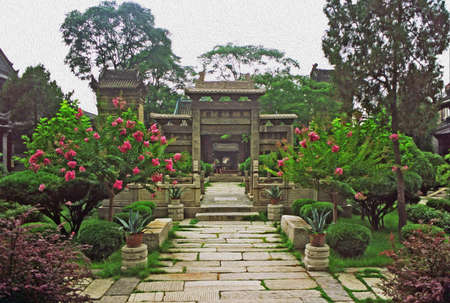 courtyard: Garden and ornamental courtyard in the Great Mosque complex, Xi Stock Photo