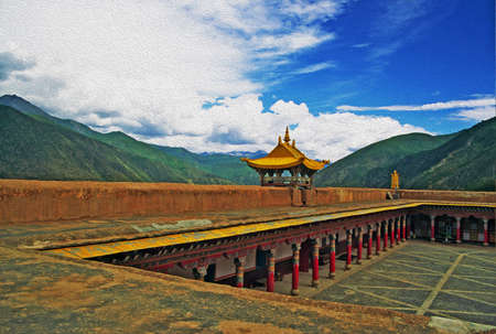 clouded sky: photo of beautifully painted and adorned courtyard of tibetan lamaist temple with mountains and clouded sky in background, filtered and stylized to resemble an oil painting. Location: Xiancheng, China