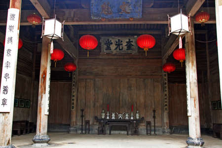 chinese courtyard: Fine carpentry of a traditional chinese house in Anhui province, china