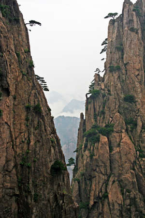 huang: Spectacular rocks and peaks of  Huang Shan Mountains Stock Photo