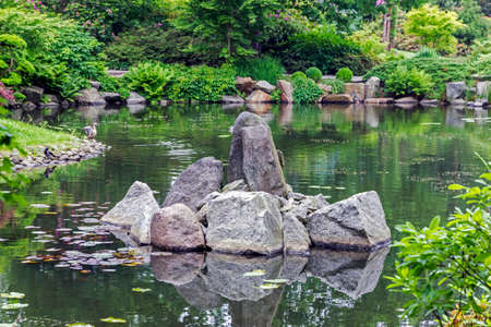 #35331335   Fragment Of A Japanese Garden With An Artifical Island, Made Of Big  Stones