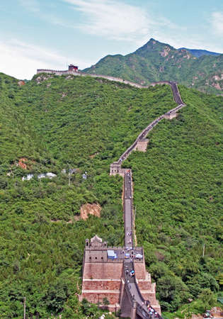 fragment  of restored Ming dynasty fortress at Juyongguan, north of Beijing, vertical photo