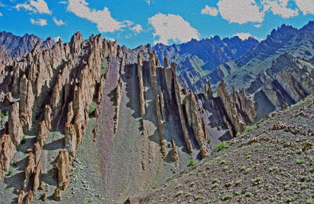 colorful mountains and fantastically shaped rock formations in Ladakh, India,  stylized and filtered to resemble an oil painting