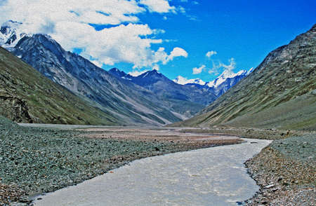terraced: river valley in indian himalayas,  stylized and filtered to resemble an oil painting Stock Photo