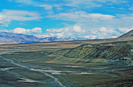 terraced: high mountain desert in ladakh, india,  stylized and filtered to resemble an oil painting