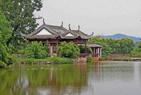anhui: Ancient pavilion by the river in Anhui province, China,  stylized and filtered to resemble an oil painting Stock Photo