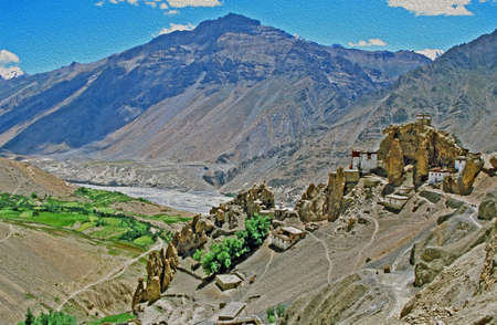 Panorama of Dhankar village and gompa with high himalays and river valley in background in Spiti valley, Himachal Pradesh, India,  stylized and filtered to resemble an oil painting
