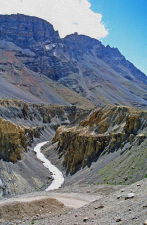 vertical photo of deep river canyon in indian himalayas,  stylized and filtered to resemble an oil painting