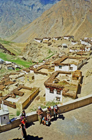 samsara: Picturesque himalayan village in Spiti valley, Himachal Pradesh, India,  stylized and filtered to resemble an oil painting Stock Photo