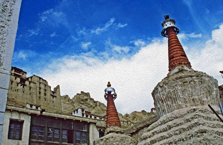 filtered: Tibetan chortens and the ruins of Leh Palace in Ladakh, Himalayas, India,  stylized and filtered to resemble an oil painting