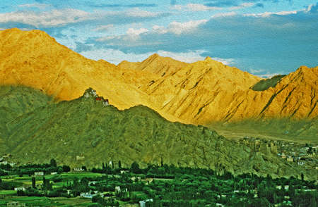 indian village: Shadow falls on Leh gompa and ruins of Leh Palace, Ladakh, India, whereas the mountains in background are still lit brightly by the setting sun,  stylized and filtered to resemble an oil painting