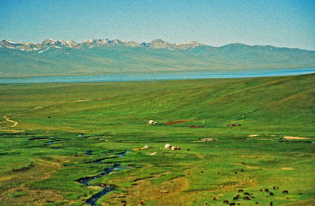 grote vergezichten van Aziatische steppe in Kirgizië met kleine silhouetten van grazende paarden en een meer en Tien Shan bergen op de achtergrond, gestileerde en gefilterd om een olieverfschilderij te lijken