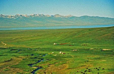 Grote vergezichten van Aziatische steppe in Kirgizië met kleine silhouetten van grazende paarden en een meer en Tien Shan bergen op de achtergrond, gestileerde en gefilterd om een ??olieverfschilderij te lijken Stockfoto - 36472880