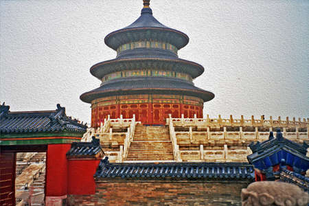 temple of heaven: part of temple of heaven complex, Beijing, China,  stylized and filtered to resemble an oil painting
