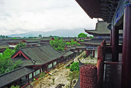 chinese courtyard: vintage style photo of aerial view of ancient mu palace in lijiang, china Editorial