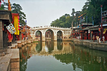 vintage style photo of fragment of the summer palace complex, Beijing, China with historic buildings, chinese bridges and canals