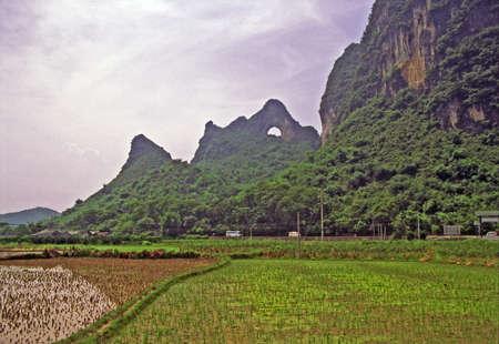 背景の前景と月丘に田んぼの陽朔付近の中国の農村風景のビンテージ スタイル写真 写真素材