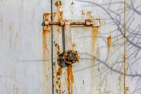 fragment of a rusty wall of a metal hut with corroded bolts and padlock in the center and shadows of twigs dancing on the wall