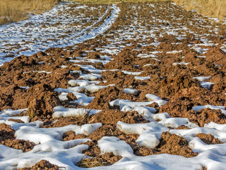 ground in the field in early spring - lumps of plowed earth and patches of melting snow