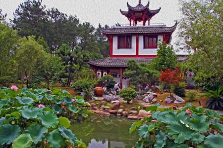 moon gate: beautiful chinese garden in anhui province with pavilion in the center,  stylized and filtered to resemble an oil painting Stock Photo