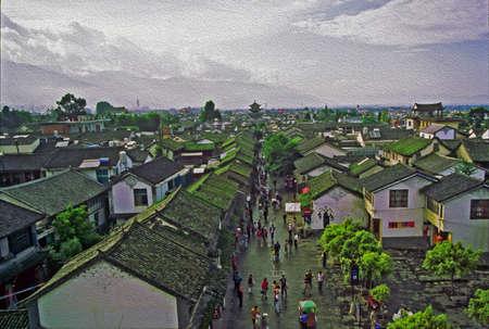 中古住宅の空撮と中国雲南省大理の街の壁の断片様式し油絵のようにフィルタ リング