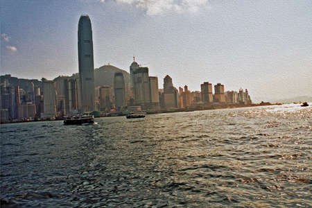 painting and stylized: panorama of skyline of Hong-Kong island, seen from the boat,  stylized and filtered to resemble an oil painting